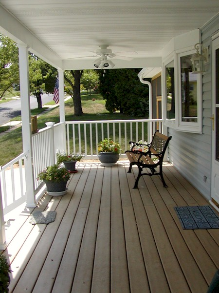 Front Porch With Exterior Fans Vinyl Railings And Composite Decking